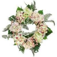 24-Inch Artificial Hydrangea and Berry Floral Wreath in Pink/Creme