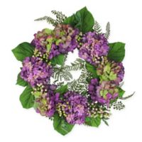 24-Inch Artificial Hydrangea and Berry Floral Wreath in Purple/Green
