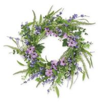24-Inch Artificial Daisies and Ferns Wreath in Purple