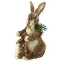 Northlight Straw Bunnies with Flowers Figurine