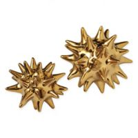Global Views Urchin Small Sculpture in Bright Gold