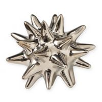 Global Views Urchin Small Sculpture in Bright Silver