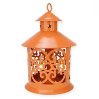 Northlight 8-Inch Tealight Candle Holder Lantern in Orange