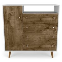 Manhattan Comfort Liberty 4-Drawer Sideboard in White/Rustic Brown