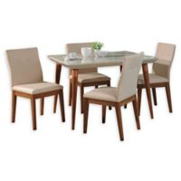 Manhattan Comfort Utopia Leroy 5-Piece Dining Set in Off White/Dark Beige