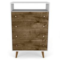 Manhattan Comfort Liberty 4-Drawer Dresser in White/Rustic Brown