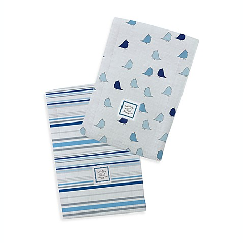 Swaddle Designs® Jewel Stripes/Little Chickies Marquisette Baby Burpies® in Blue (Set of 2)
