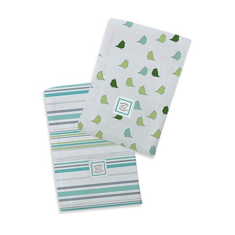 Swaddle Designs® Jewel Stripes/Little Chickies Marquisette Baby Burpies® in Aqua (Set of 2)