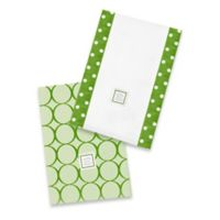Swaddle Designs® Jewel Tone Mod Circles Baby Burpies® in Pure Green (Set of 2)