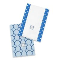 Swaddle Designs® Jewel Tone Mod Circles Baby Burpies® in True Blue (Set of 2)