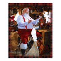 Designs Direct Santa's Workshop 16-Inch x 20- Inch Canvas Wall Art in Red