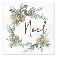 "Designs Direct ""Noel Pine Cone Wreath"" 16-Inch Square Canvas Wall Art"