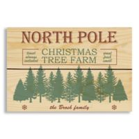 "Designs Direct ""North Pole Christmas Tree Farm"" 7-Inch x 10.5-Inch Wood Plank Wall Art"