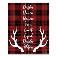 Designs Direct Reindeer Role Call 16-Inch x 20-Inch Canvas Wall Art in Red