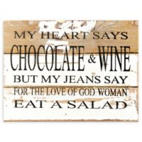 "Sweet Bird & Co. 8-Inch x 6-Inch ""Chocolate & Wine"" Wood Wall Art"