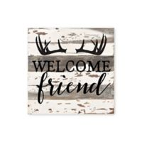 Sweet Bird & Co. Welcome Friend Antlers Reclaimed Wood Wall Art