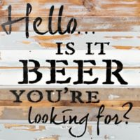 "Sweet Bird & Co. ""Hello... Beer"" Square Wooden Wall Art in Blue/Grey"