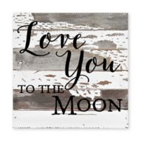 "Sweet Bird & Co. ""Love You To The Moon"" Wood Wall Art in Silver/White"