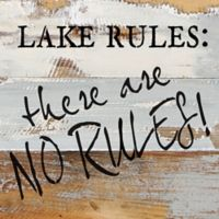 "Sweet Bird & Co. ""Lake Rules"" Square Wooden Wall Art in Blue/Grey"