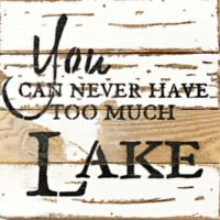 "Sweet Bird & Co. ""Never Too Much Lake"" Square Wooden Wall Art in Silver/White"