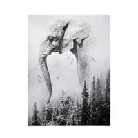 Deny Designs Elephant Landscape 18-Inch x 24-Inch Poster Wall Art
