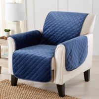 Velvet Accent Chair Furniture Protector Cover in Denim Blue