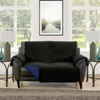 Barrett Microfiber Reversible Loveseat Furniture Protector Cover In Black Navy