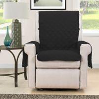 Morgan Home Microfiber Reversible Chair Protector in Black/Navy