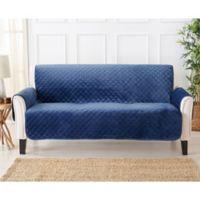 Velvet Sofa Furniture Protector Cover in Denim Blue