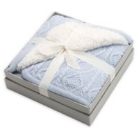 Elegant Baby® Faux Fur Cable Knit Blanket in Blue