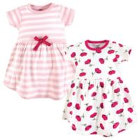 Touched by Nature Size 2T 2-Pack Stripes and Flowers Short Sleeve Dresses in Pink