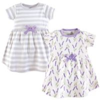 Touched by Nature Size 2T 2-Pack Lavender Short Sleeve Organic Cotton Dresses