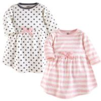 Touched by Nature Size 2T 2-Pack Ikat Stripes/Dots Long Sleeve Organic Cotton Dresses