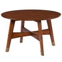 Southern Enterprises Rhoda Round Coffee Table in Dark Sienna