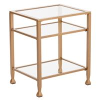 Southern Enterprises Jaymes Metal and Glass End Table in Soft Gold