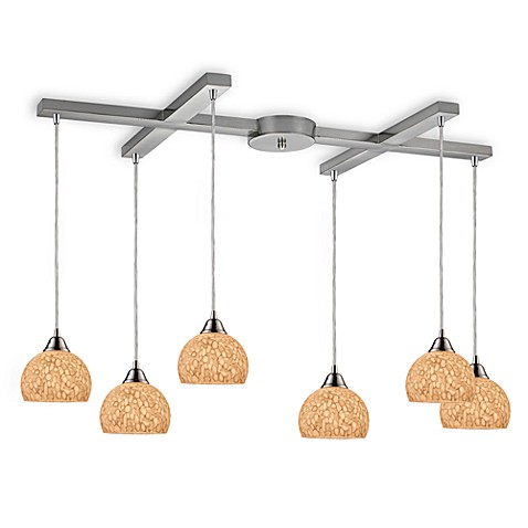 ELK Lighting Cira 6-Light Pendant in Satin Nickel/Pebbled Grey-White