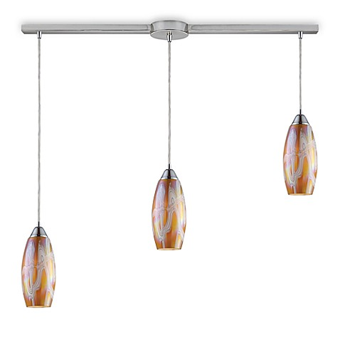 ELK Lighting Iridescence 3-Light Linear Pendant in Satin Nickel/Golden