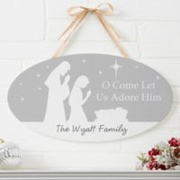 Let Us Adore Him Personalized Oval Wood Sign