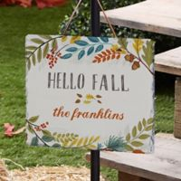 Hello Fall Floral Personalized Slate Plaque