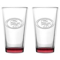 NFL San Francisco 49ers 16 oz. Embossed Pint Glasses (Set of 2)