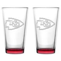 NFL Kansas City Chiefs 16 oz. Embossed Pint Glasses (Set of 2)
