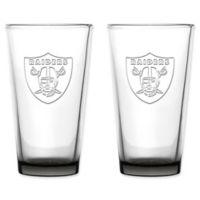 NFL Oakland Raiders 16 oz. Embossed Pint Glasses (Set of 2)