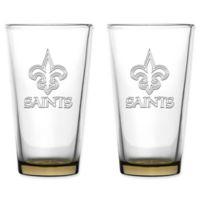 NFL New Orleans Saints 16 oz. Embossed Pint Glasses (Set of 2)