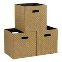 Household Essentials® Collapsible Fabric Storage Bins in Gold/Olive (Set of 3)