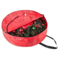 Elf Stor 36-Inch Artificial Christmas Wreath Storage Bag in Red