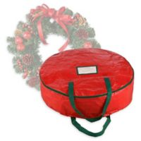 Elf Stor 24-Inch Artificial Christmas Wreath Storage Bag in Red