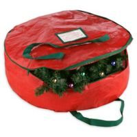 Elf Stor 30-Inch Deluxe Artificial Christmas Wreath Storage Bag in Red