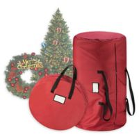 2-Piece Artificial Christmas Tree and Wreath Storage Bags in Red