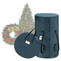 2-Piece Artificial Christmas Tree and Wreath Storage Bags in Green