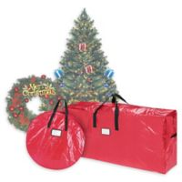 Elf Stor 2-Piece Deluxe Artificial Christmas Tree and Wreath Storage Bags in Red